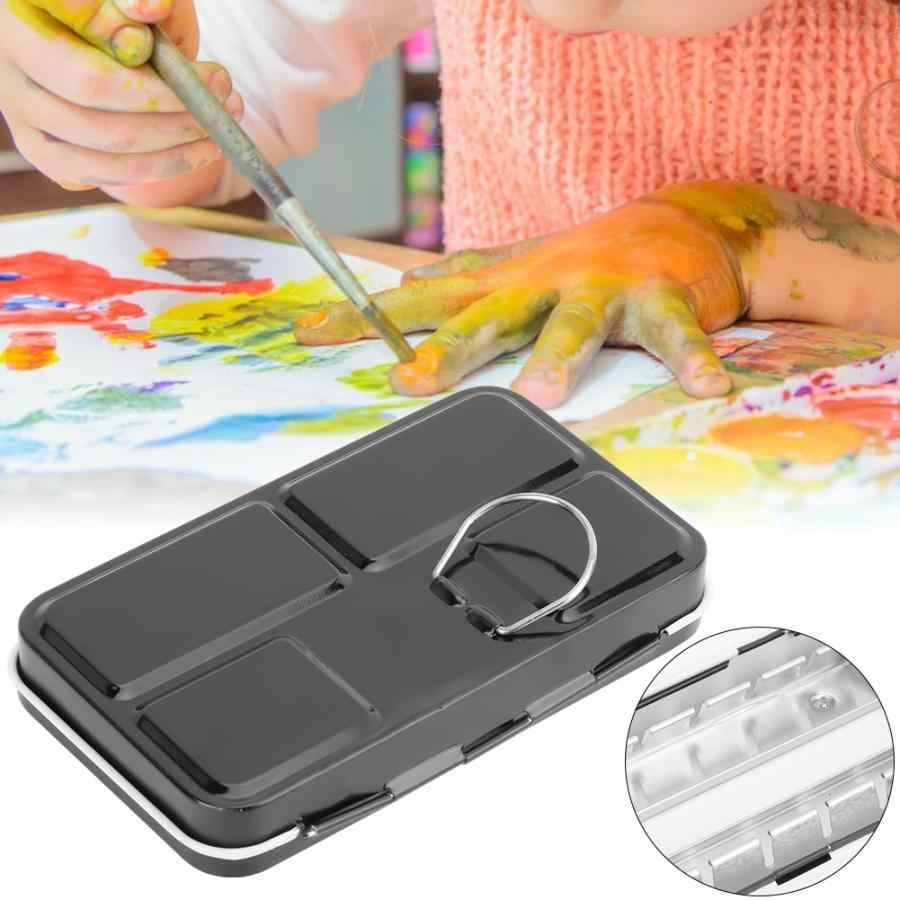 Portabel Solid Watercolor Box Pallet Lukisan Persediaan untuk Memegang 12 Warna Pigmen Perlengkapan Cat Air Case Palet