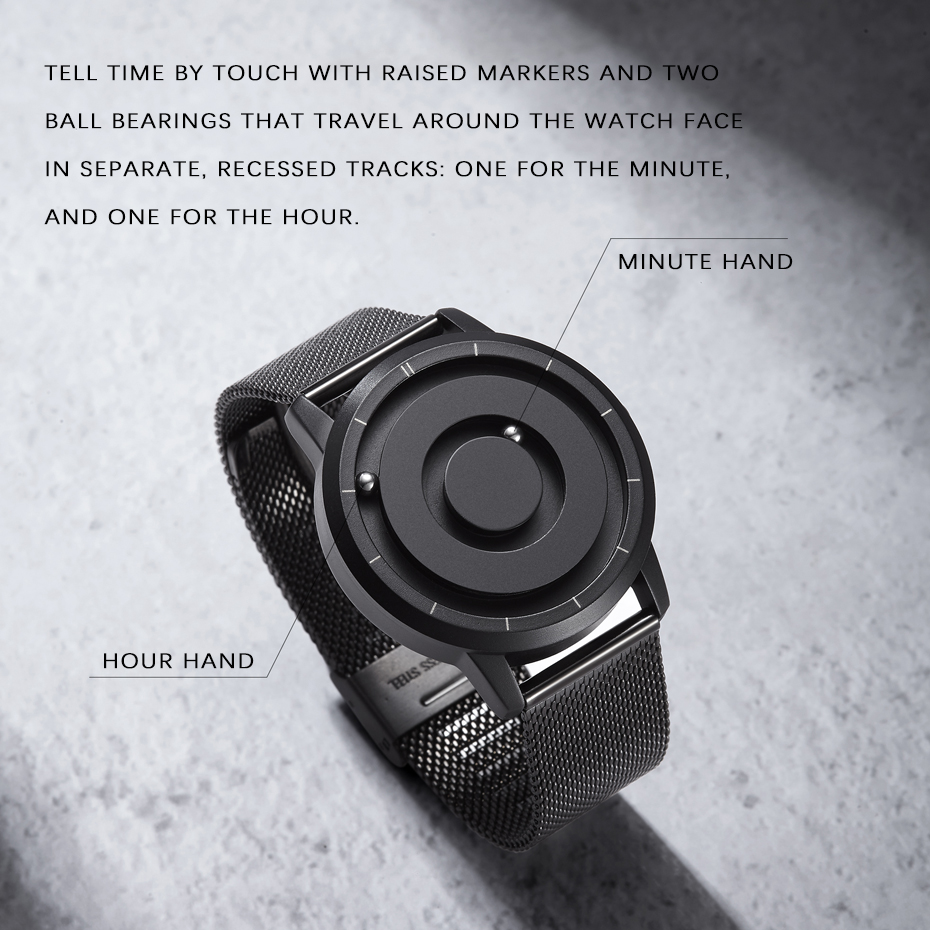 EUTOUR New Innovative Blue Gold Magnetic Metal Multifunctional Watch Men's Fashion Sports Quartz Watch Simple Men's Watch 3