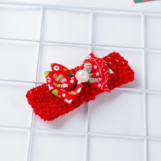 2Pcs Cute Baby Girl Long Sleeve Christmas Theme Pattern Romper Dress+Headband Skirt Outfits Christmas Costume 4
