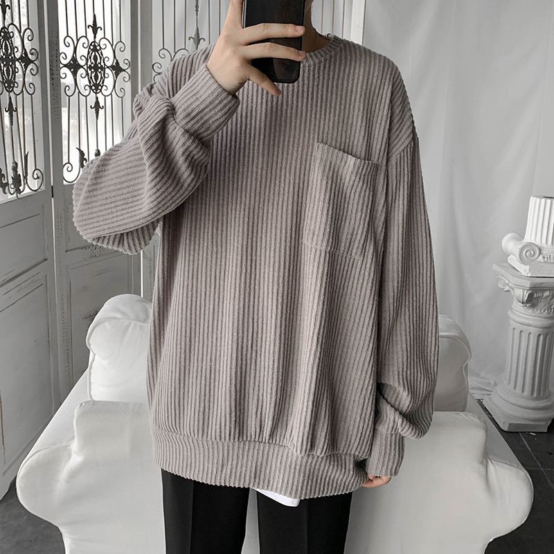 Sweater Men's Warm Fashion Solid Color Casual O-neck Knitted Pullover Men Wild Loose Knitting Sweaters Male Sweter Clothes