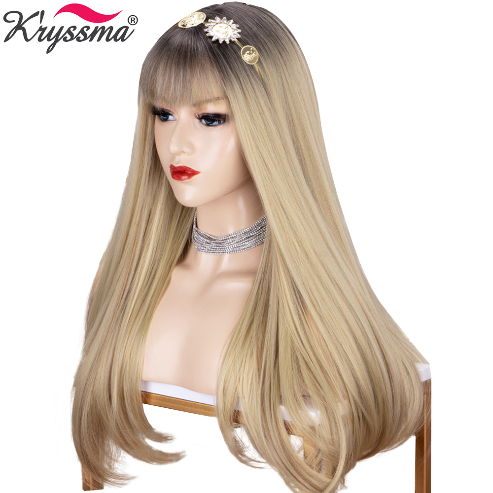 Long Straight Hair Ombre Blonde Wigs For Women Black Brown Root Synthetic Wigs Heat Resistant Cosplay Women's Wigs With Bangs
