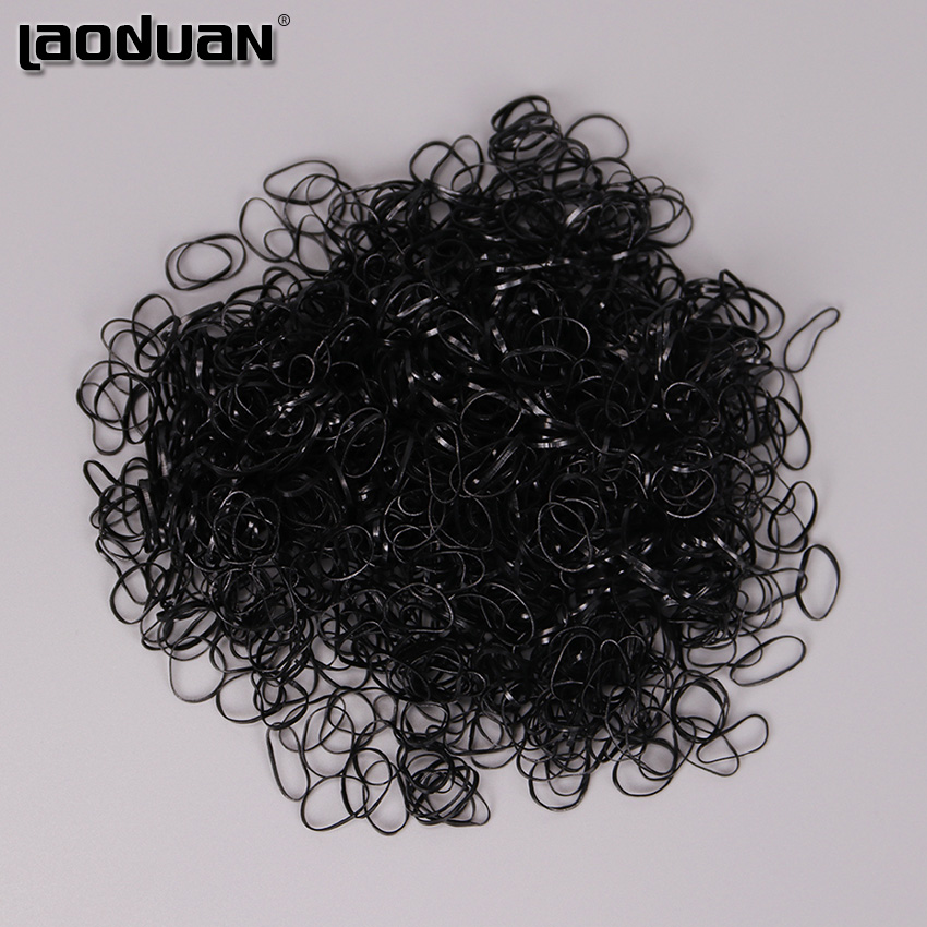 1.5CM 1000PCS/Bag Clear And Black Rubber Hair Band Rope Ponytail Holder Elastic Women Hair Band