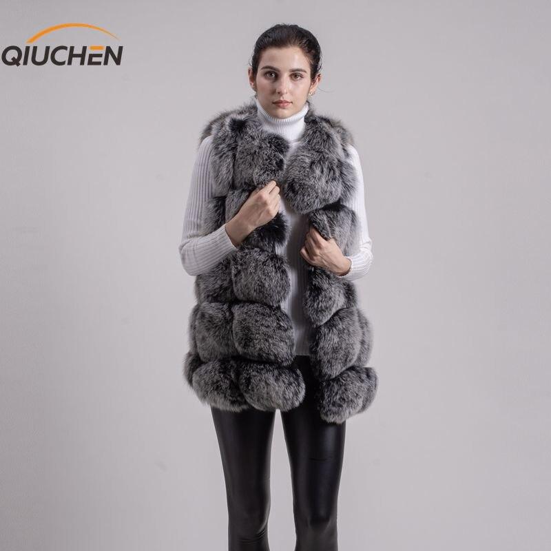 Qiuchen pj8046 grande venda frete grátis maior pele nova pele de raposa natural longo colete de pele de raposa real gilet inverno alta qualidade das mulheres raposa