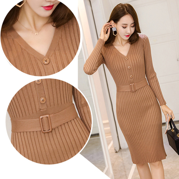 Knitted Belt Long Sleeve Dress Women 2020 Slim Bodycon Autumn Korean Elegant Fall Winter Button V Neck Sweater Midi Ribbed Dress 1