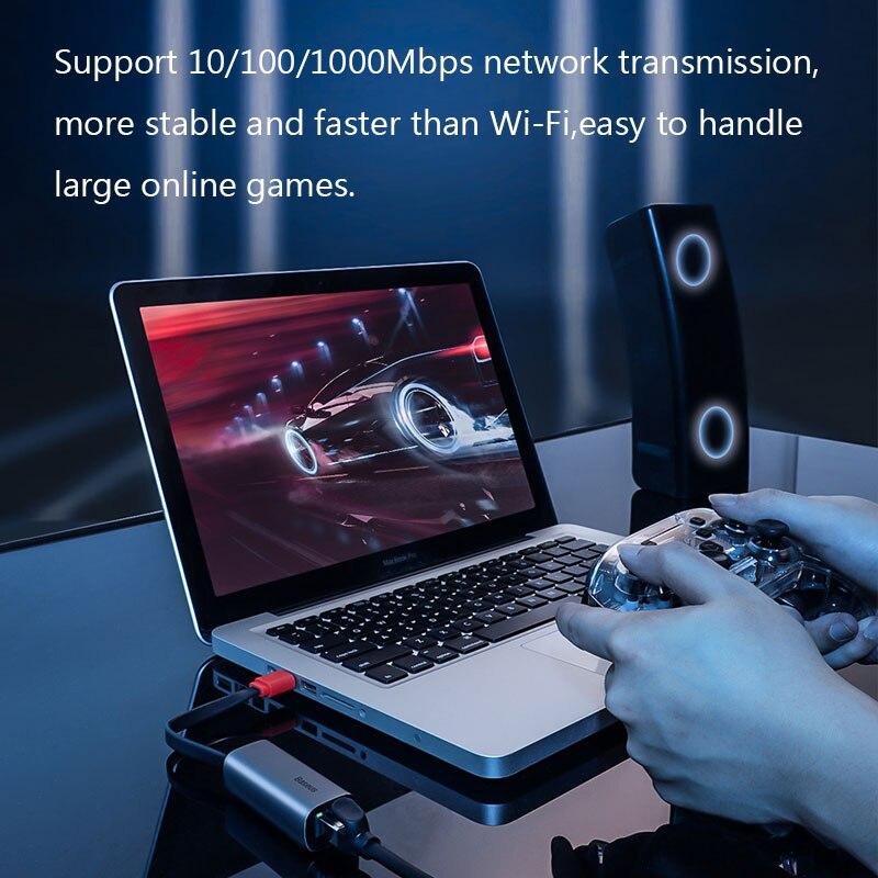 Baseus Ethernet Adapter USB Type C to RJ45 Network Card USB Converter Gigabit Lan Adapter For Notebook Macbook pro iPad Switch 4