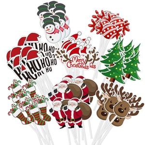 Image 4 - 72pcs Merry Christmas Cake Topper Cupcake Toppers Muffin Santa Claus Christmas Tree Snowman Cute Fruit Cake Picks Xmas Supplies