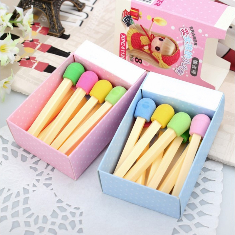 8Pcs Creactive Matchstick Eraser Colorful Pencil Rubber School Office Stationery