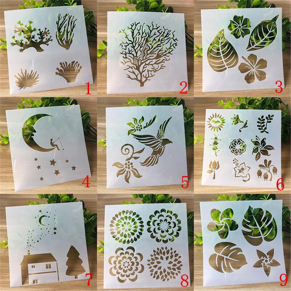 13cm Tree Leaf Flower DIY Layering Stencils Painting Scrapbook Coloring Embossing Album Decorative Card Template 1 Pcs