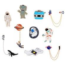 Вселенная, броши на булавке, шлем космонавта Кит робот Люди Икс планета Lightning жест лацкан значок из космоса коллекция булавок
