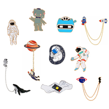 Universe Brooches Pins Astronaut Helmet Whale Robot X-men Planet Lightning Gesture Badge Lapel pins Out space Pins Collection