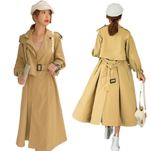 Women Trench Coat Spring Autumn New Over-size Outwear Fashion Casual Long
