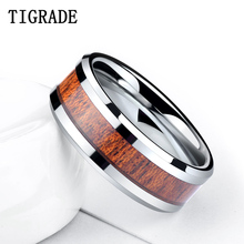 TIGRADE 8mm Wood Inlay Tungsten Carbide Ring Men High Polished Edges Wedding Band Engagement Rings Comfort Fit