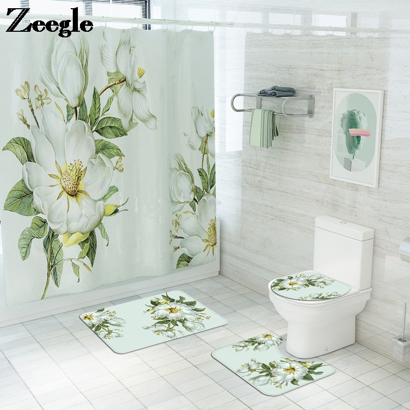 Floral Bathroom Carpet Shower Room Toilet Floor Mat Toilet Seat Cover Mat Bathroom Non-Slip Carpet Mat Set with Shower Curtain
