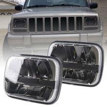 זוג 5X7 7X6 אינץ מלבני אטום קרן LED פנס שחור עבור ג יפ רנגלר YJ צ רוקי XJ H6014 H6052 H6054