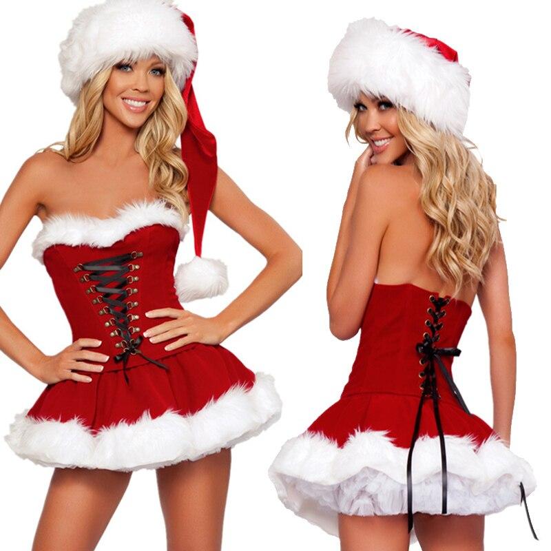 Сексуальная леди Санта Клаус Рождественский костюм прекрасный эротический Рождество принцесса косплей карнавал ночной клуб Вечеринка нар