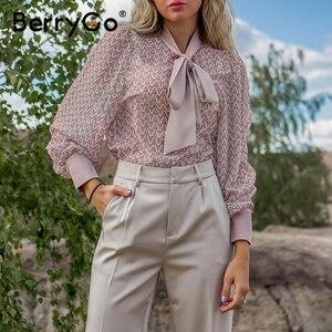 Image 3 - Женская блузка с геометрическим рисунком, длинным рукавом и завязкой на шее
