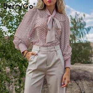 Image 3 - BerryGo Casual geometric long sleeve blouse shirt 2020 Summer spring  women blouses Elegant pink work wear tie neck female top