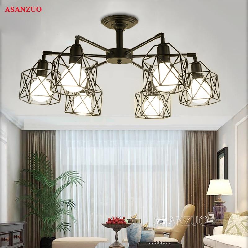 US $25.0 |Modern Black Chandelier Lighting American Iron Cage Ceiling Lamp  Light Fixtures Kitchen luminiare Bedroom Living Room Home Light-in Ceiling  ...