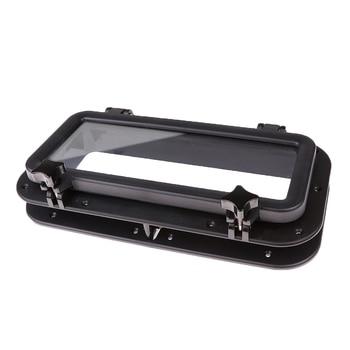 Boat Rectangular Porthole Window with White ABS Plastic Trim Port Hole - 15-3/4 x 7-7/8 inch - Black