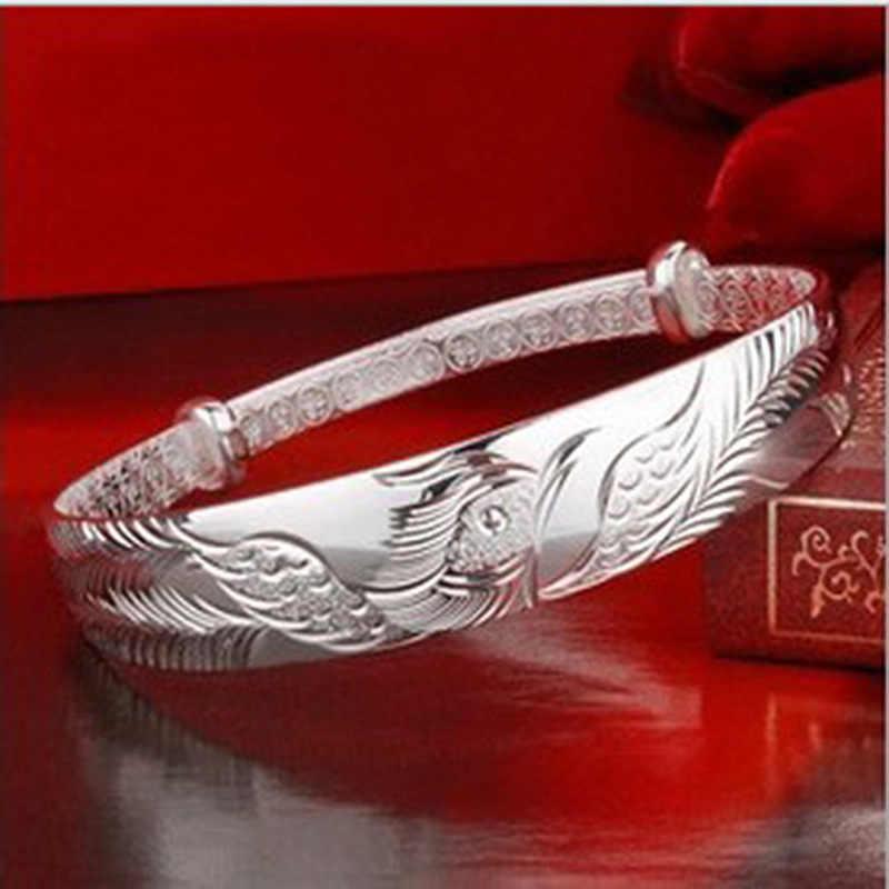 Ethnic moda elegante mujer niño regalo Phoenix Push Pull 999 anillos brazalete de plata ajustable mujer jade pulsera jade lotus