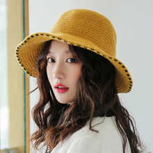 HT2744 Bucket Hat Autumn Winter for Women Solid Wide Brim Cap Thick Warm Ladies Packable Knitted