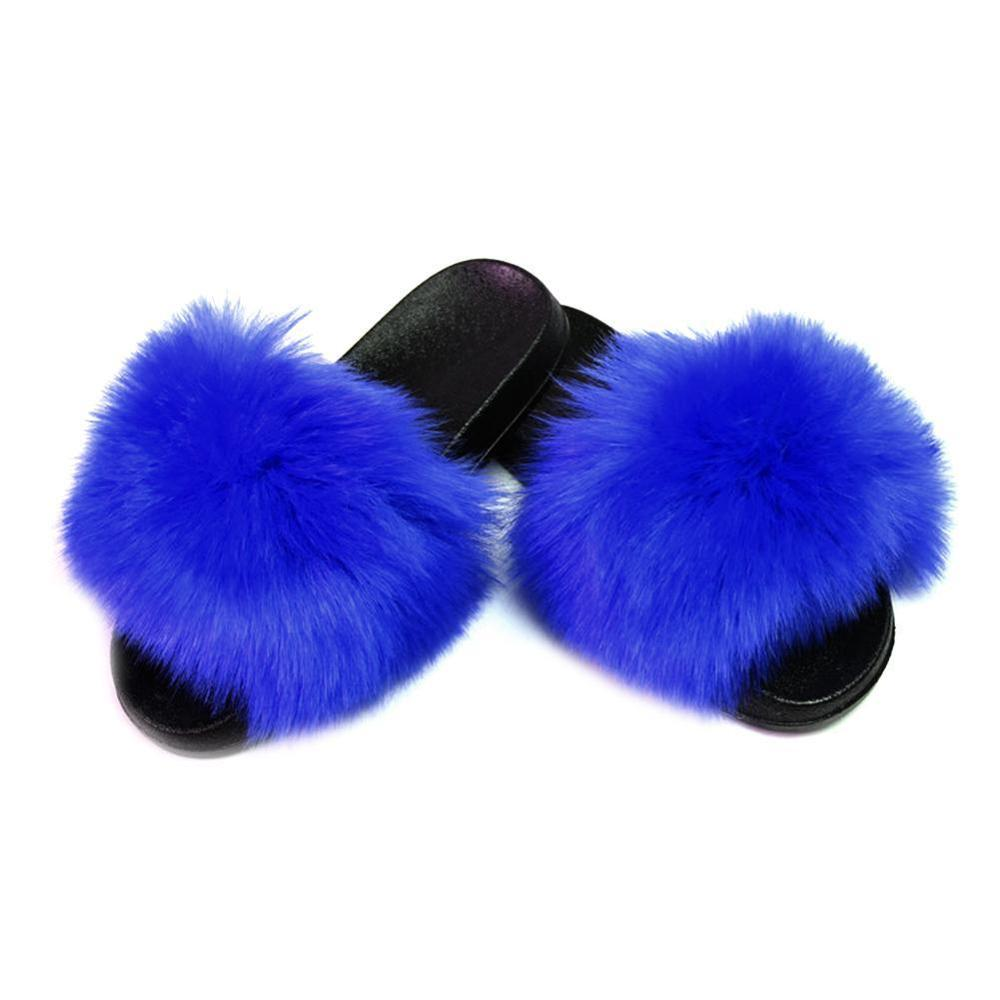 Women Slides Flip Flops Women 39 s Fur Slippers Indoor Flat Warm Furry Slippers Outside Girls Plush Sandals in Slippers from Shoes