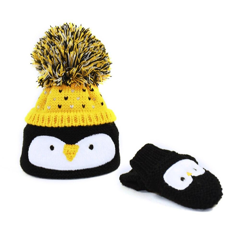 Cute Love Penguin Beanie Caps Baby Girls Gray