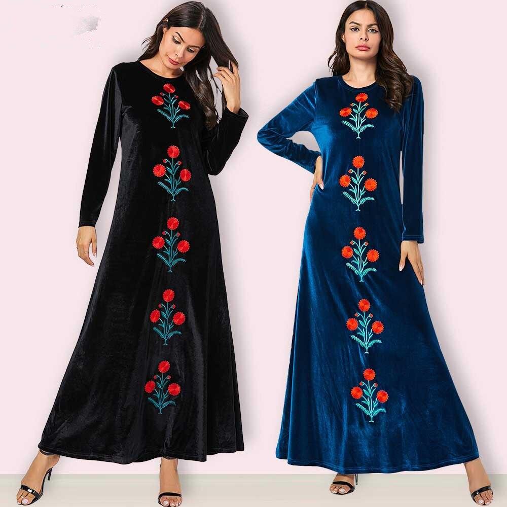 MISSJOY Dubai robe à manches longues fête musulmane femmes arabe bleu plante broderie décontracté or velours grande robe