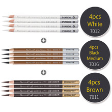 Marco-lápiz de dibujo de madera, lápices de carbón suave, negro, blanco, marrón, para estudiantes, materiales de arte profesional