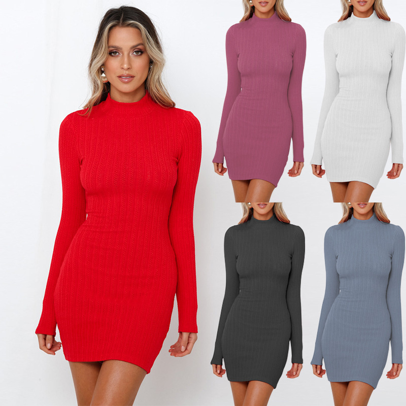 BGW High Neck Mini Knitting Cocktail Dresses Long Sleeves Hollow Out Back Five Colors 2020 Robes De Cocktail Élégantes