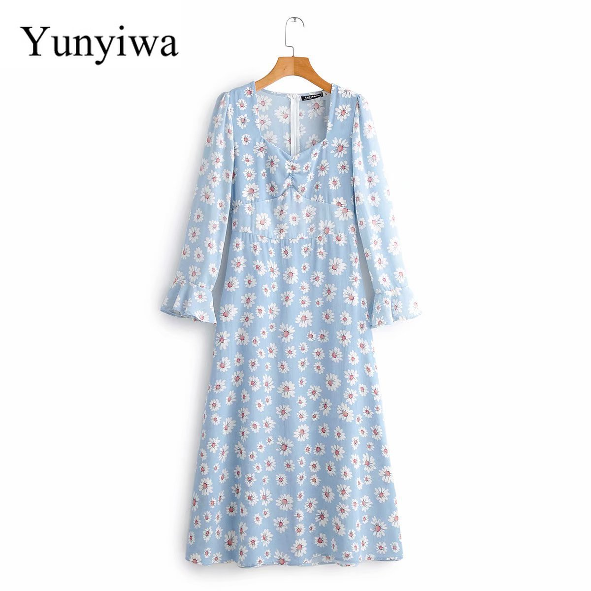 2020 Long Sleeve Printed Dress Casual Women Dresses Party Long Loose Maxi Dress Elegant Vestidos