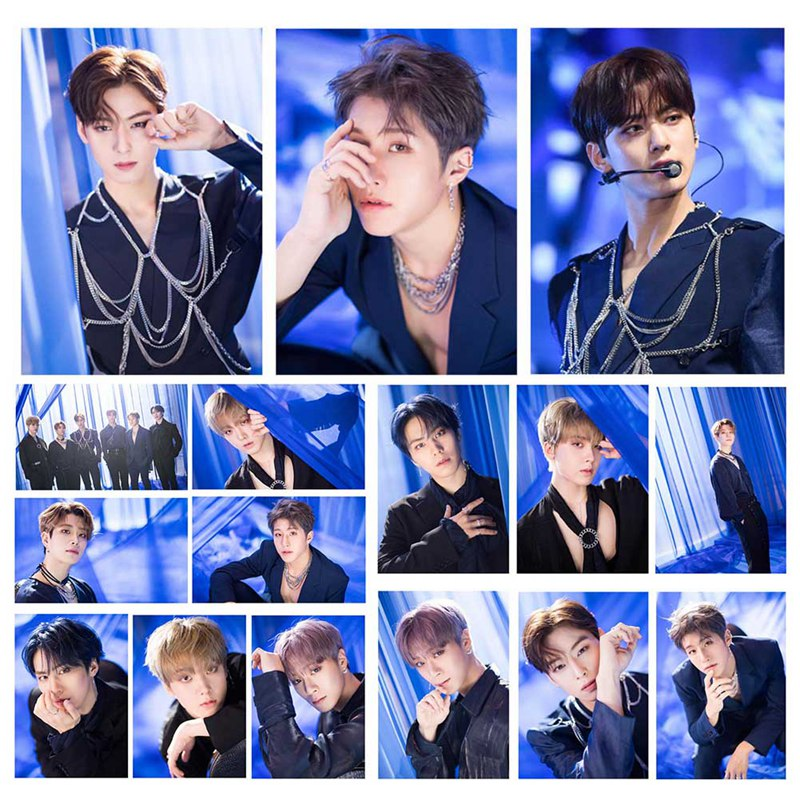 16Pcs/Set KPOP Astro BLUE FLAME  Album Melting Photo Version For Student Card Bus PVC Crystal Card Stickers