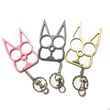 Auto-defesa chaveiro para mulheres meninas bonito gato chaveiro moda trinket chaveiro do carro chaveiro feminino pingente de chave proteger sobreviver