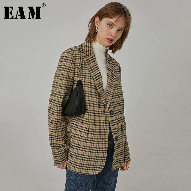 [EAM]  Women Brown Plaid Split  Big Size Blazer New Lapel Long Sleeve Loose Fit  Jacket Fashion Tide Spring Autumn 2020 1R397
