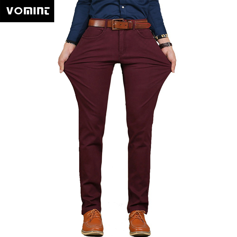 Vomint Brand New Mens Casual Pant High Stretch Elastic Fabric Skinny Slim Cutting Trouser Pocket Badge Plus Size 44 46  V7S1P008