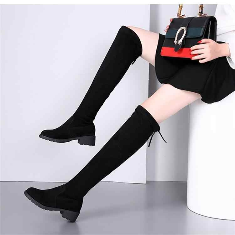 New Fashion woman over the knee boots winter Plush flat long boot botas mujer black thigh high boots platform boot Thin leg boot