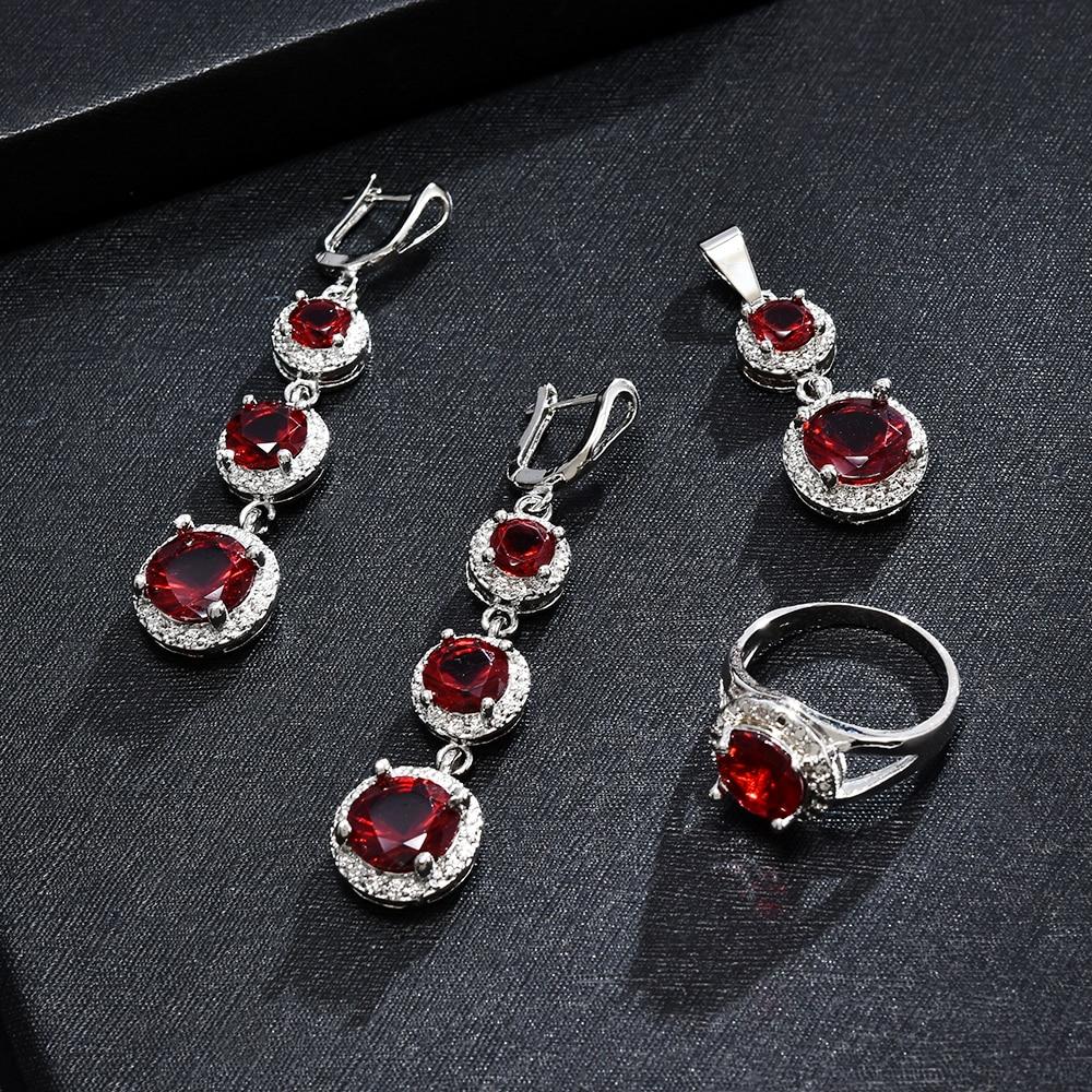 New Crystal Pendant Necklace Earrings Set Elegant Jewelry Set Fashion Women Valentine Wedding Accessories