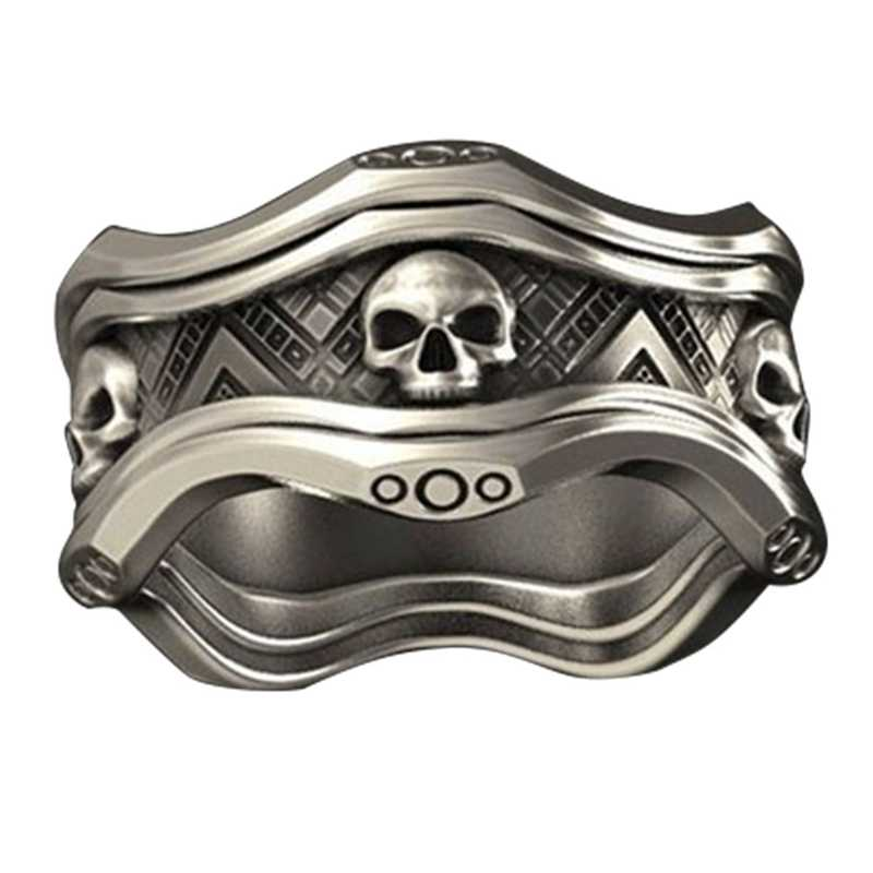 Cool Gothic Santa Muerte Death Skull Ring Unique Men Rings Punk Head Skeleton Rock Biker Bohemian Jewelry Accessories