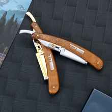 Straight Razor Hair-Trimmer Shave-Knife Beard Wooden-Handle Stainless-Steel Folding Hair-Dressing-Tool