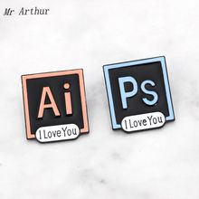 Ps Ai Square Enamel Pin I Love You Brooch Backpack Clothes Lapel Landscaping Art Jewelry Gift for Friends