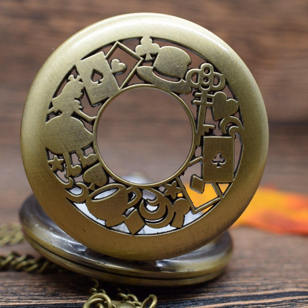 Pocket & Fob Watches  Bronze Alice in Wonderland Theme  Quartz Pocket Watches Vintage Fob Watches  Gift for Men/Women