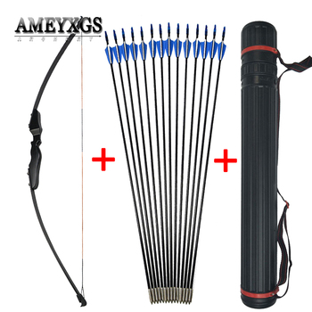 Archery Recurve Takedown Bow 40lbs Straight Bow Long Bow With Fiberglass Arrows Outdoor Hunting Shooting Accessories 40lbs straight bow for right hand and left hand 50 inches with arrows for youth archery hunting shooting child recurve bow