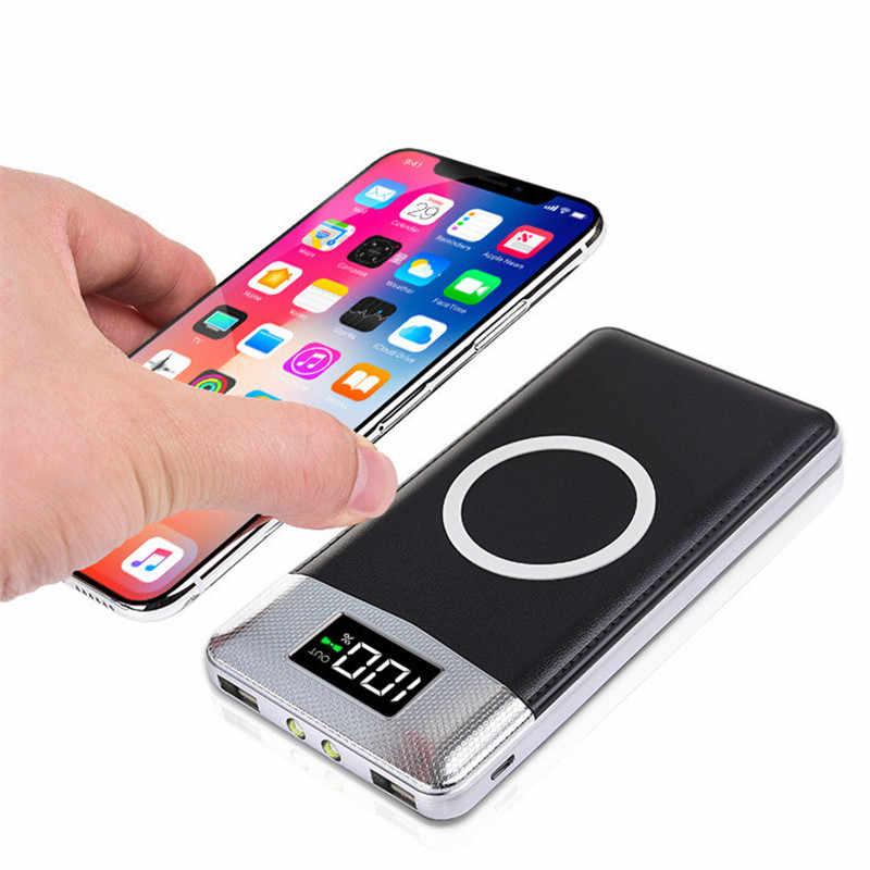 30000 MAh Power Bank External Battery Bank Built-In Nirkabel Charger Powerbank Portable Qi Wireless Charger untuk iPhone 8 8 PLUS XS