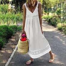 Letnia Sundress damska bez rękawów koronki Patchwork wakacje długie sukienki VONDA 2021 głębokie V Neck Party sukienka bez rękawów Plus rozmiar Vestido