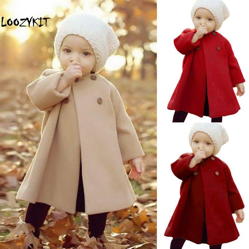 Baby Jackets Clothes 2020 Long Woolen Windbreaker Coats Kids Princess Cloak Button Outwear For Girls Overcoat Clothing