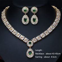 CC Fashion Jewelry Set Wedding Necklace and Earrings White Gold Color Crystal Sparkling CZ Inlay Bridal Jewelry Sets T0018