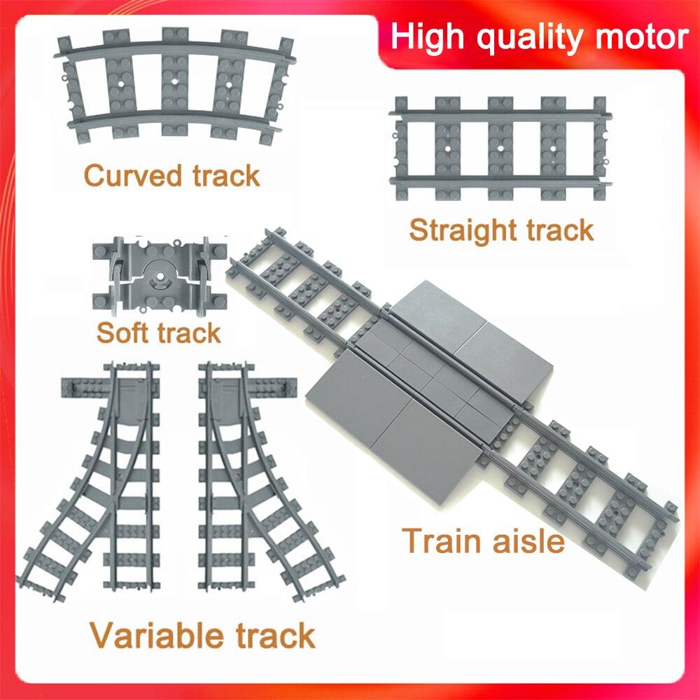 City Trains Flexible Track Aisle Accessory Flexible Rail Switch Building Block Bricks Kids Toys Compatible LegoINGlys Track