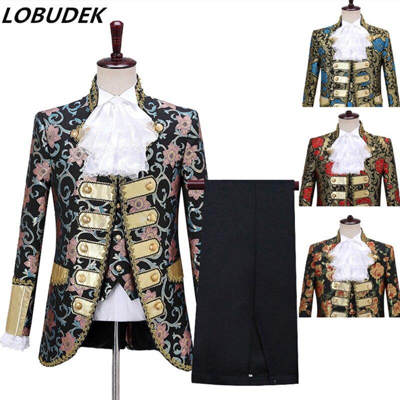 Vintage Court 3 Pieces Set Cosplay Costume Men's European Drama Performance Jacket Vest Pants Jacquard Suit Wedding Groom Suits