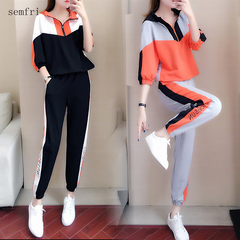 Semfri Cotton Womens Tracksuit 2020 Spring Autumn Casual Sports Two Piece Set Fashionable Korean Version Loose Style Track Suit