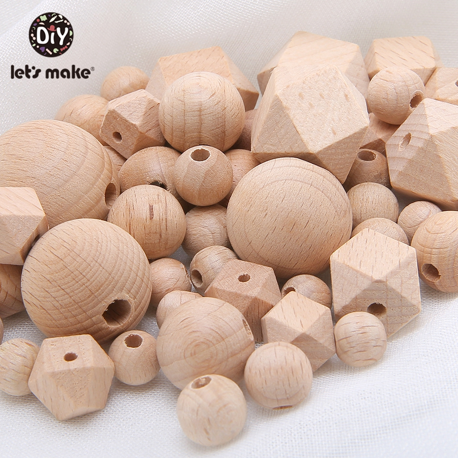 Let's Make 100pc Beech Hexagon Wooden Teether Beads Round 12-30mm Baby Rattle Beaded Wood Baby Teether Wooden Toys